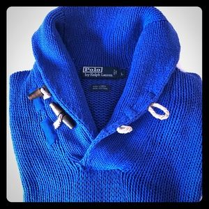 POLO RALPH LAUREN Blue Sweater with Wooden Toggles